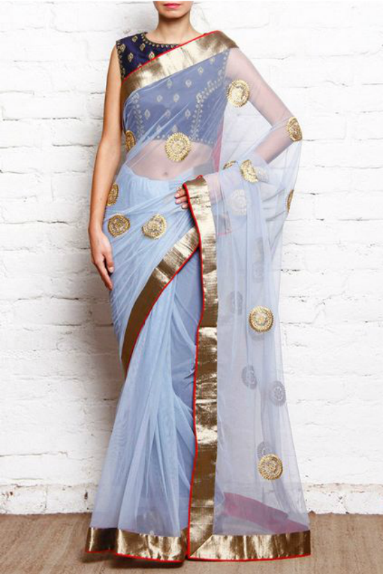 Blue Embroidered Net Saree by Karieshma Sarnaa