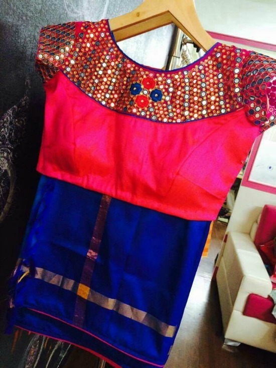 Blue Semi Pattu Saree With Pink Simple Mirror and Embroidery Work Blouse