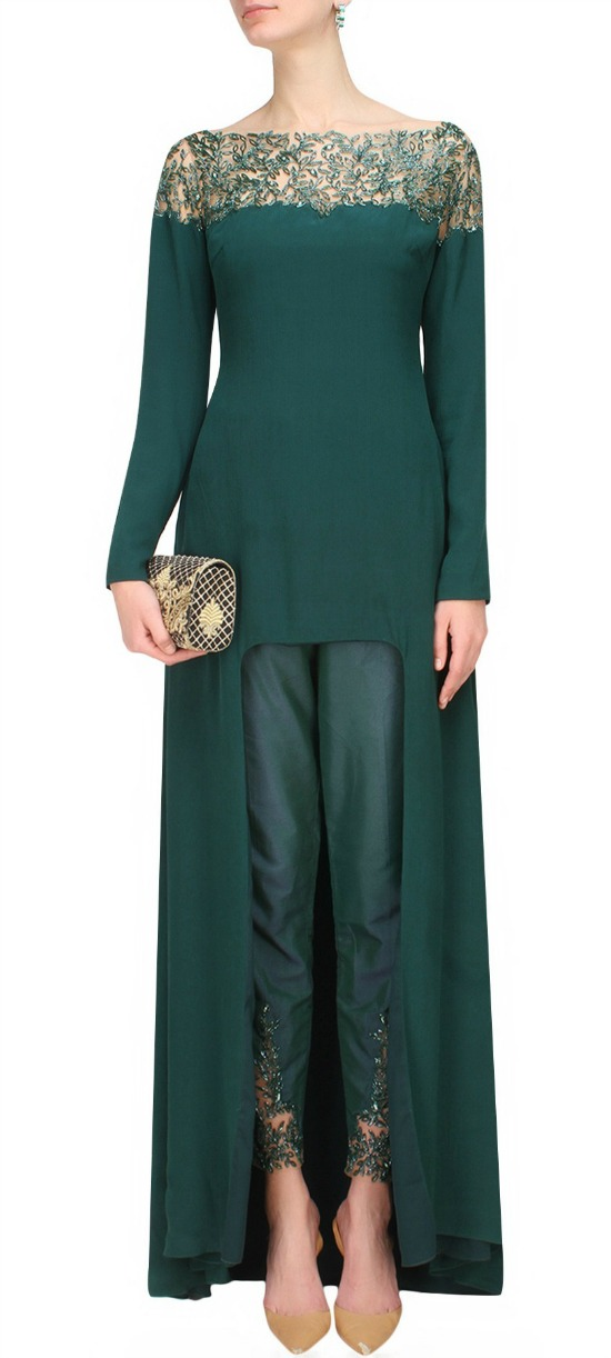Forest Green High Low Kurti Cape In Crepe Base