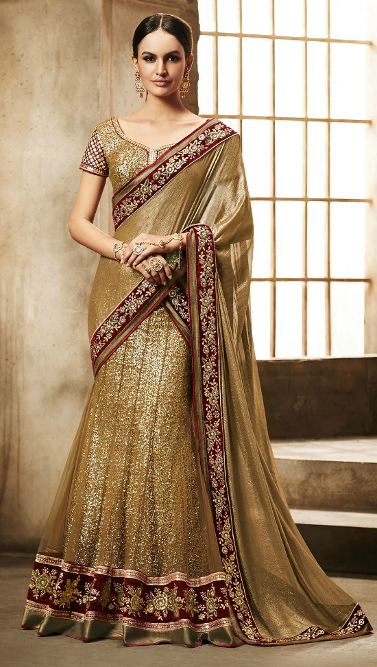 Lovely Embroidered And Sequins Work Gold Net Lehenga Saree