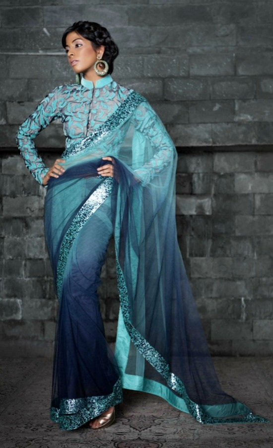 Ombre Dyed Net Saree With High Collar Full Sleeve Blouse