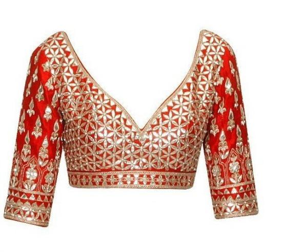 Red Color Gotta Patti Embroidered Blouse