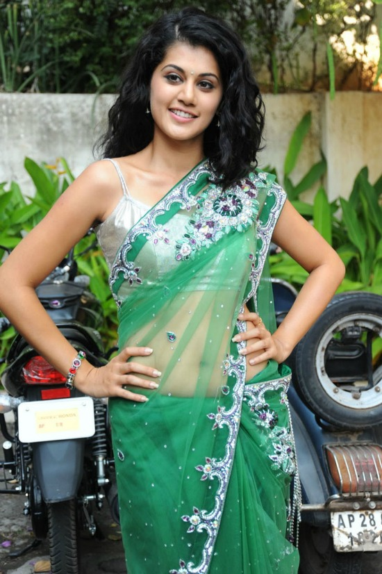 Tapsee In Green Net Saree With Kundan Work