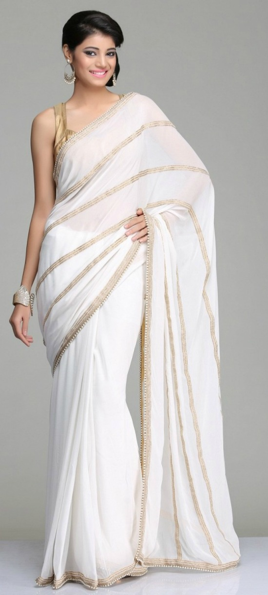 White Color Designer Saree With Pearl Work