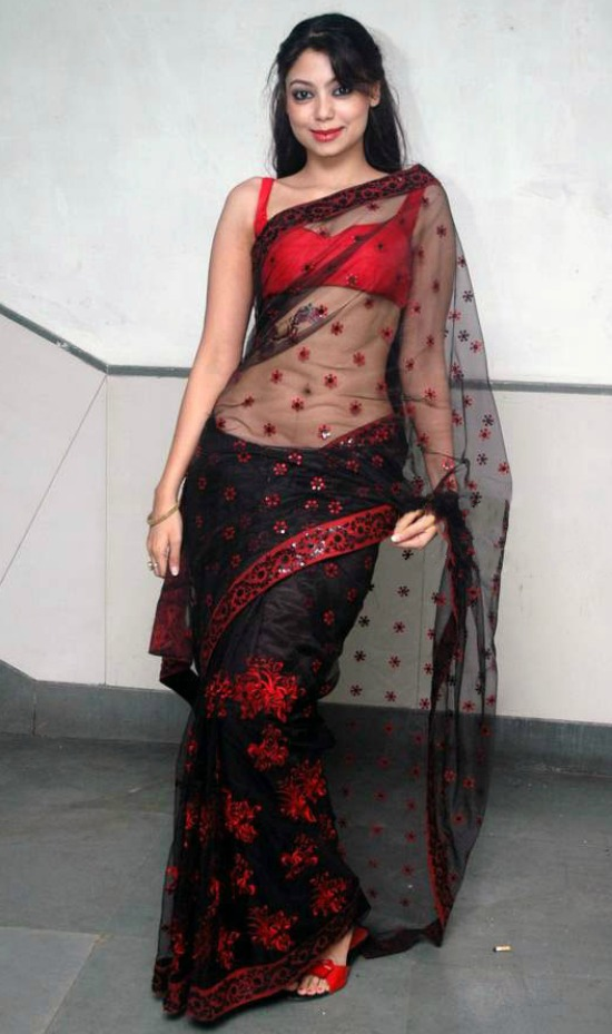 Anangsha Biswas In A Low-Rise Transparent Sari With A Sleeveless Choli