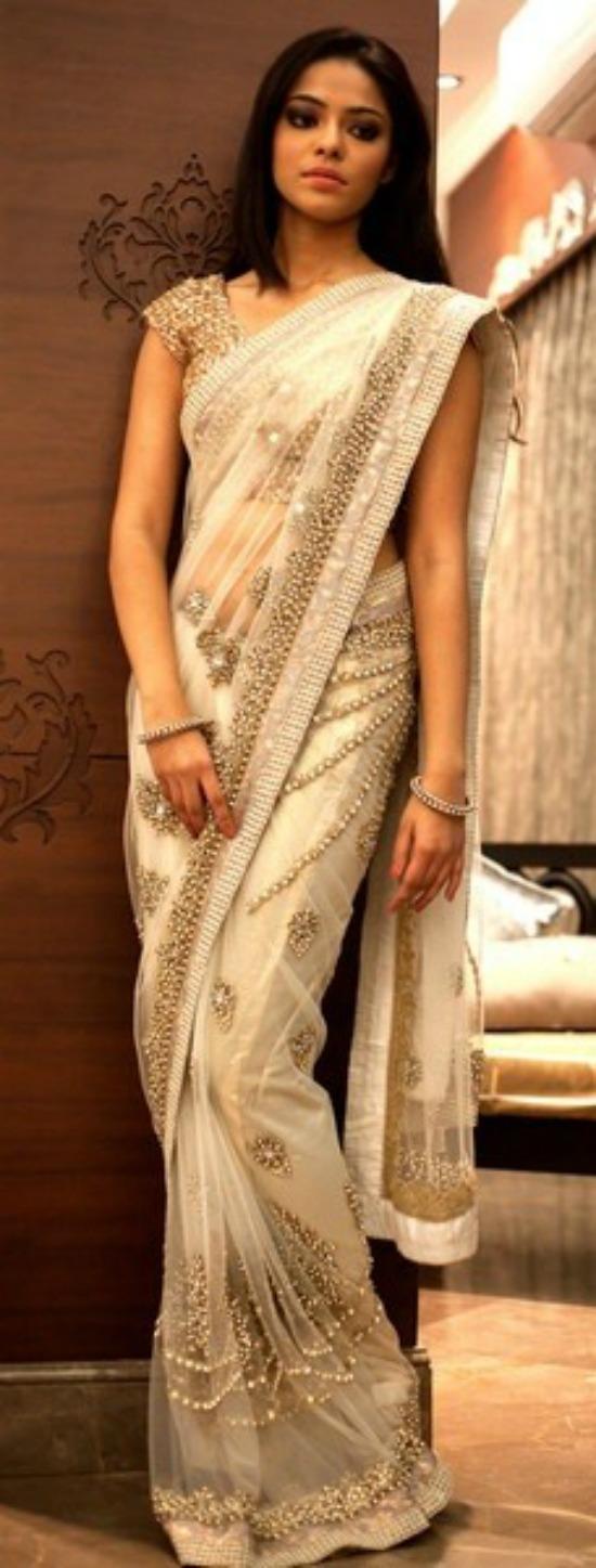 Heavy Work Designer White And Gold Net Saree