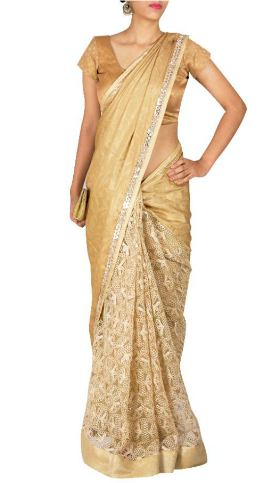 Champagne Gold Half And Half Saree With U Shape Blouse