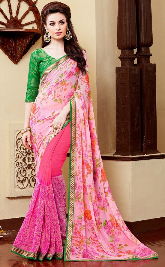 Georgette and Velvet Pink Floral Print Half and Half Saree