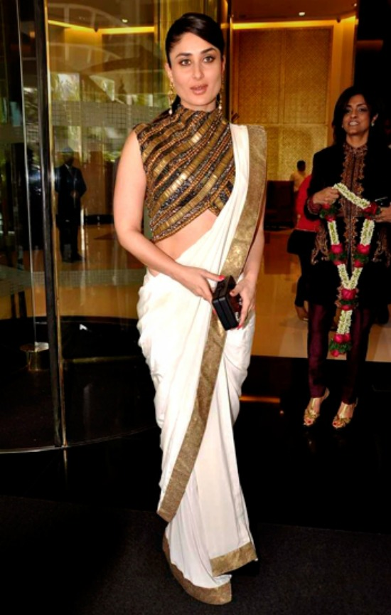 Kareena Kapoor In White Saree Gold Zari Border With Metalic Blouse