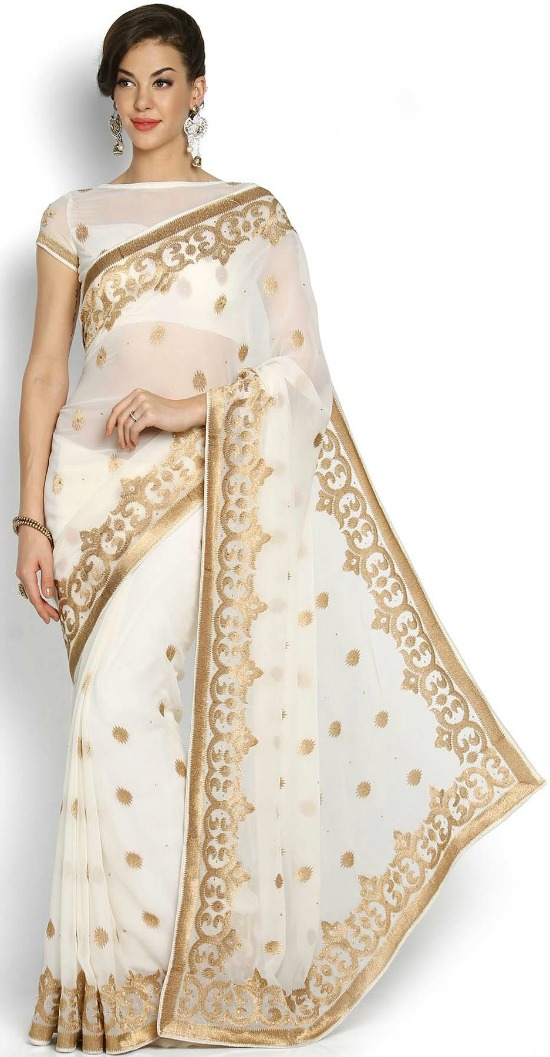 Off-White and Gold-Toned Embroidered Georgette Saree