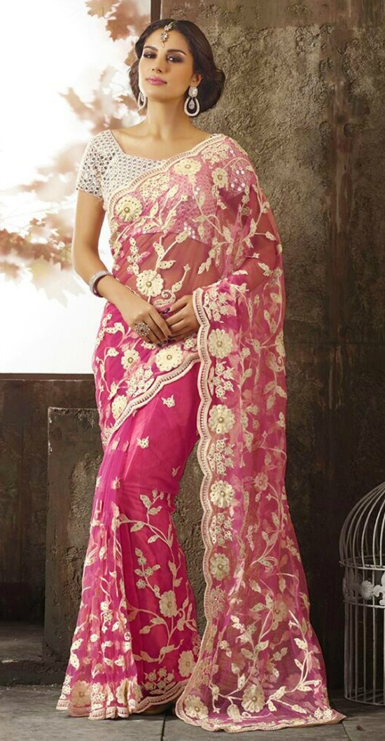 Adorn Net Pink Saree Full White Embroidery Party Ware Saree