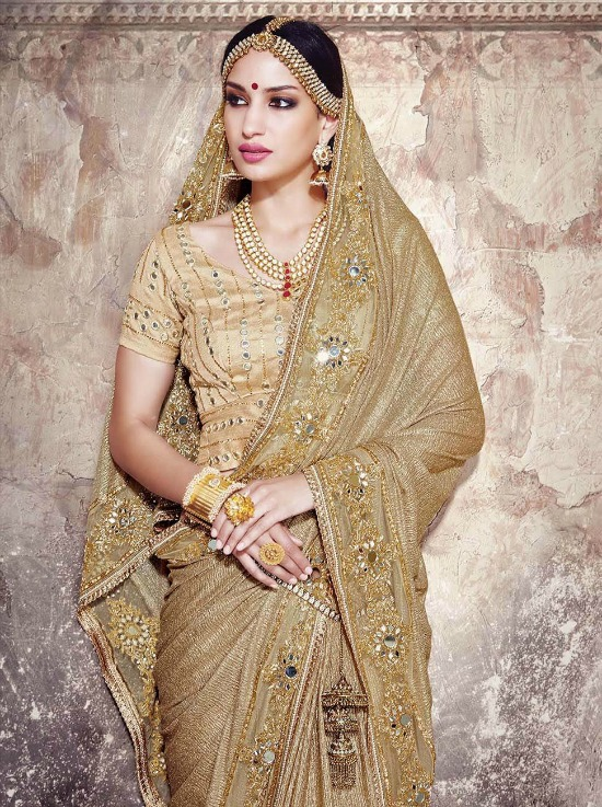 Fancy Fabric Golden Designer Saree With Crafted Work And Gota Blouse