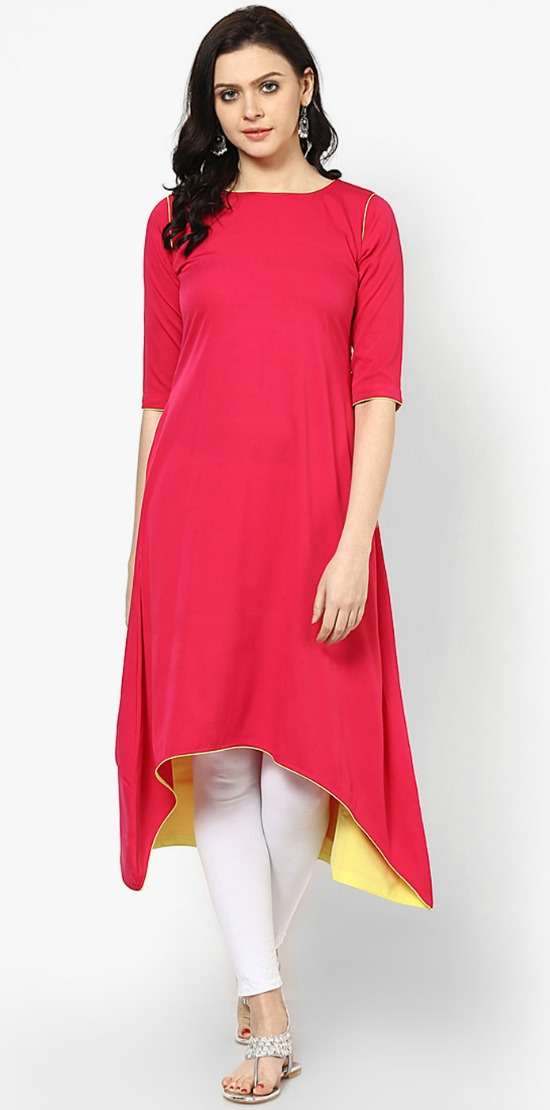 Satin Red Plain C-Cut Kurti