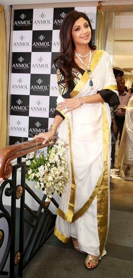 Shilpa Shetty Wore A White And Gold Masaba Saree With A Black And Gold Leaf Motif Blouse