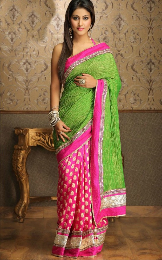 Half and Half Crush Pallu Saree by Meena Bazaar