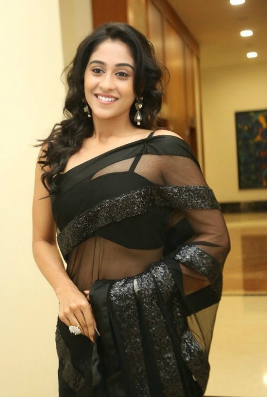 Regina Looks Beautiful In Black Transparent Saree