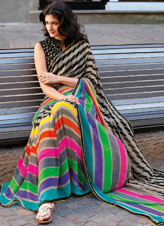 Trendy Multicolor Saree With Open High Collar Sleeveless Blouse