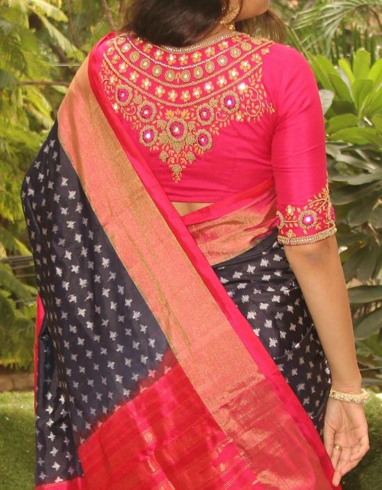 Aari Work On Back Of Blouse For Pattu Saree