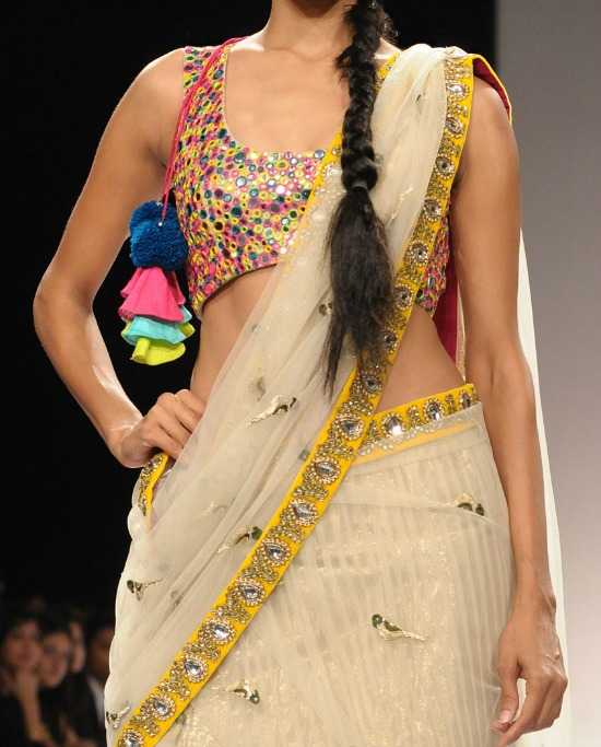 Multi Coloured Thread Embroidery With Mirror Work With Off White Net Saree With Yellow Border