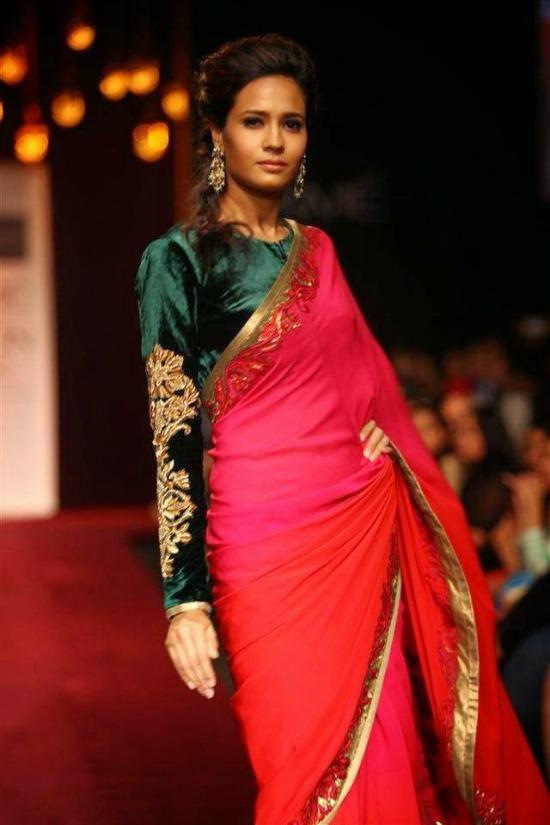 Green Velvet Full Sleeve Saree Blouse Design
