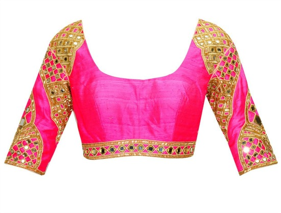 Indigo Salli And Mirror Work Sari With Bright Pink Embroidered Blouse