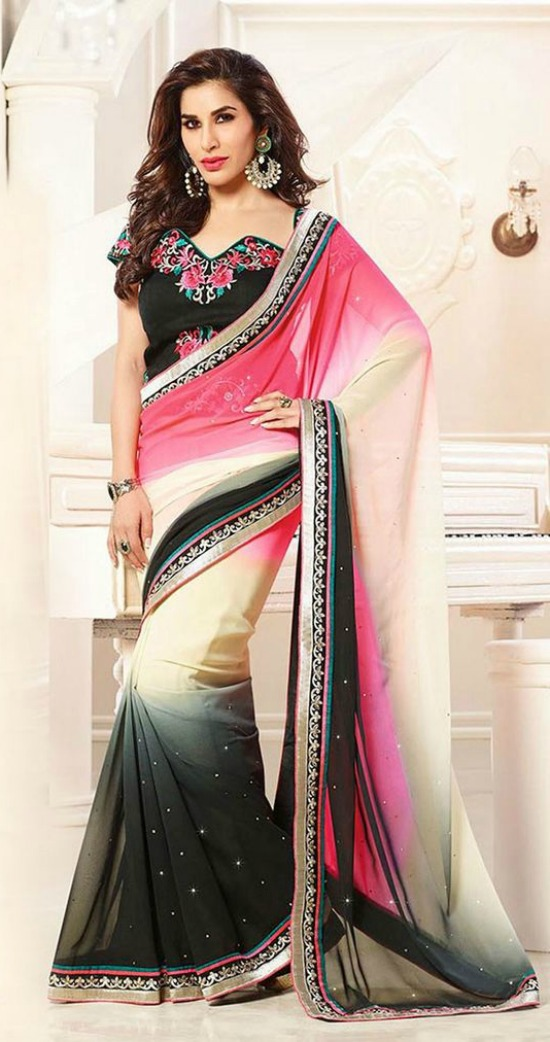 Multi Color Georgette Saree With Asymmetrical Blouse