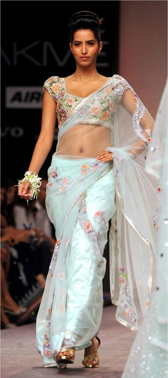 Pale Blue Net Saree With Kundan And Sequins Work