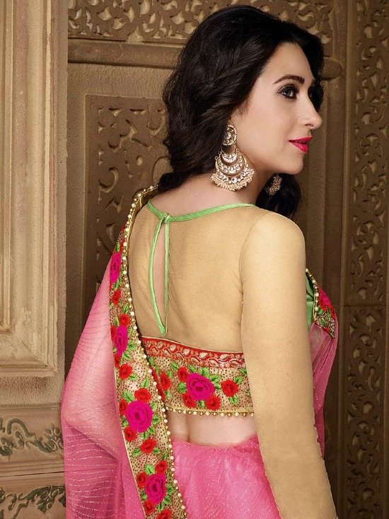 Designer Party Wear Saree Blouse Designs in Pink With Beige Color