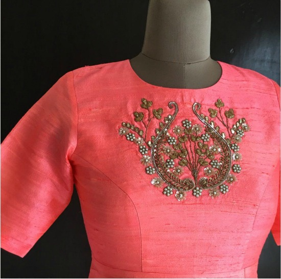 Pink Blouse With Sequins and Pearl Embroidery Work At Front of Blouse
