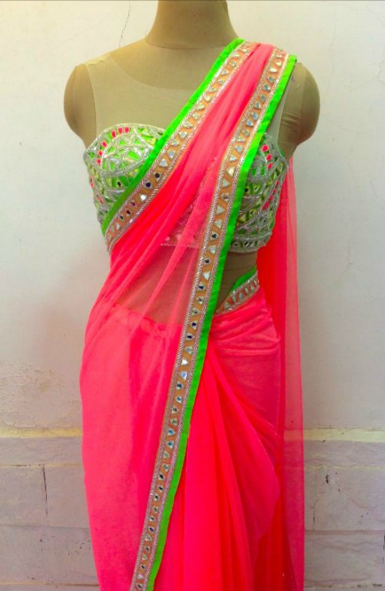 Pink Saree With Mirror Work Corset Blouse