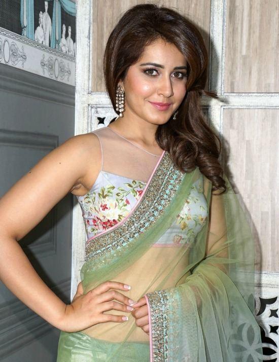 Raashi Khanna In Sheer Yoke Sleeve Less Blouse