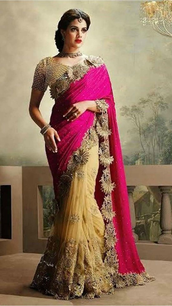 Net Machine Work Beige and Pink Embroidered Half & Half Saree