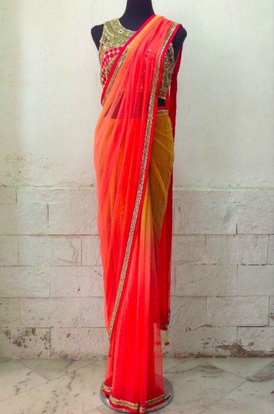 Pink Punch and Gold Saree From The Arpita Mehta Saree