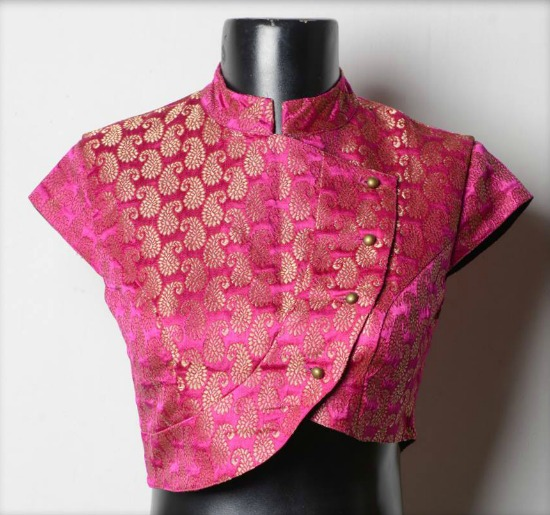 Jamewar Collared Asymmetric Saree Blouse Design