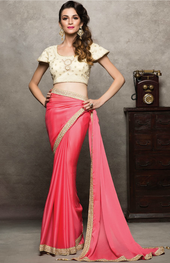 Satin Pink Saree with Art Silk Blouse