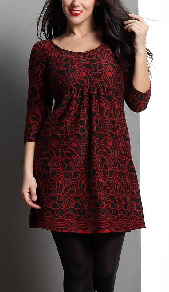 Red Floral Empire-Waist Kurti