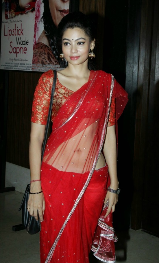 Ananya Dutt In Red Embllished Work Saree