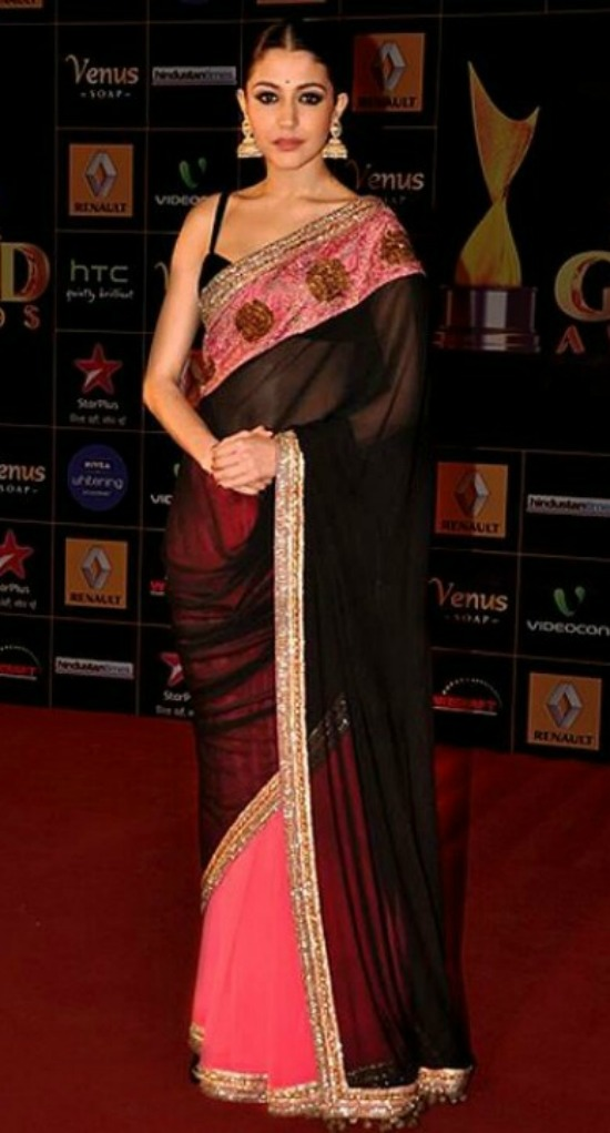 Anushka Sharma Wore a black and pink Manish Malhotra saree