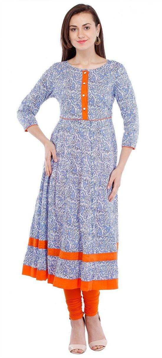 Cotton Blue Printed Anarkali Kurti