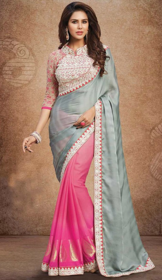 Grey And Pink Georgette Saree With Pink Art Silk Blouse Embellished With Embroidered