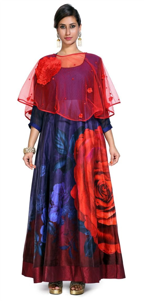 Navy Blue Floral Printed Cape Kurti