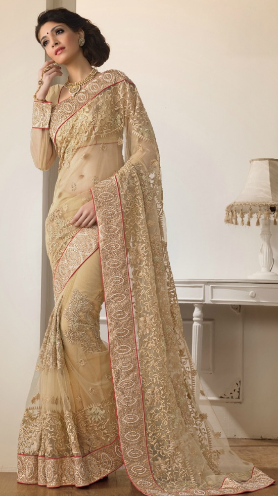 Golden Heavy Work Wedding Saree With Full Net Sleeve Blouse