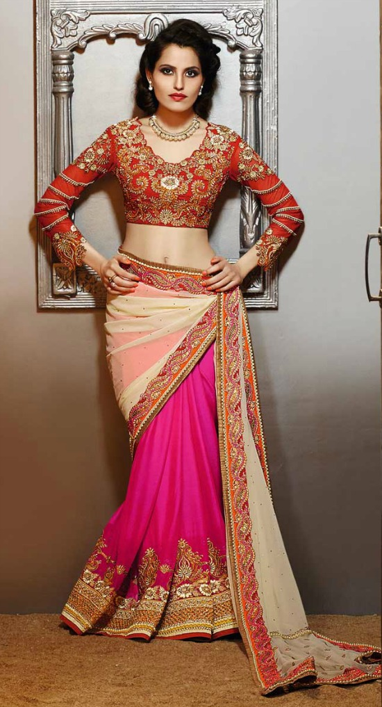 Mustard Cream And Pink Georgette Saree With Cur Work Heavy Embroidery Full Sleeve Blouse