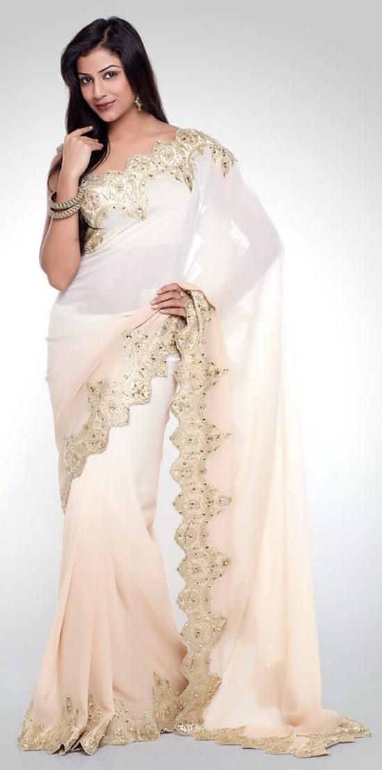 White Chiffon Saree With Gold Embellished Border