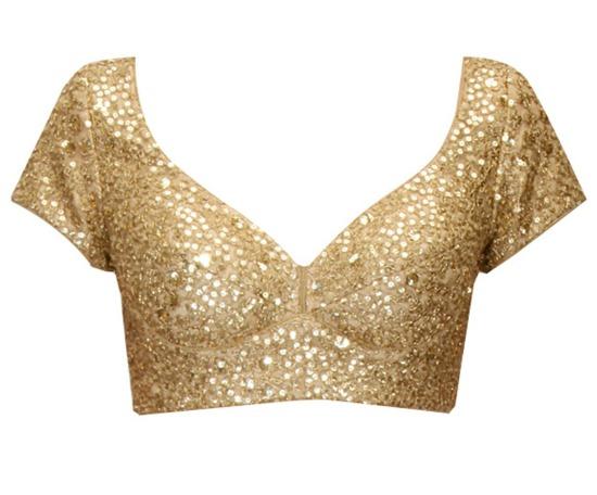 Designer Sequins Work Gold Color Blouse