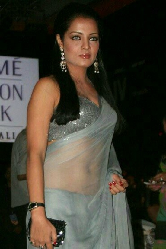 Celina In Transparent saree