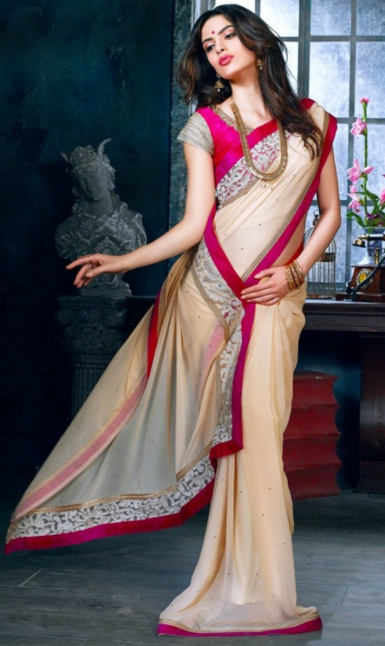 Cream Bemberg Saree with Embroidery Work