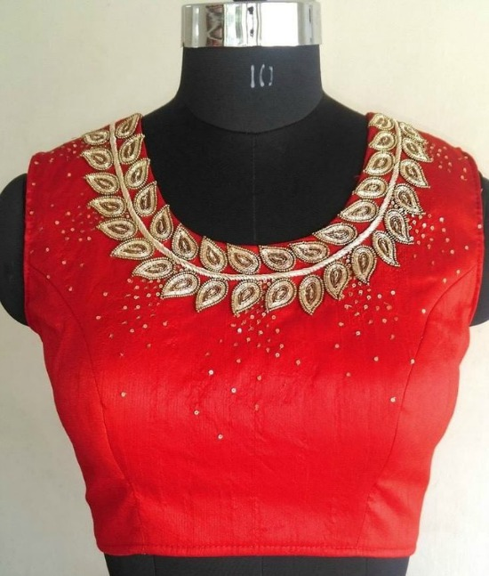 Jewel Neck Blouse With Embroidery Motifs