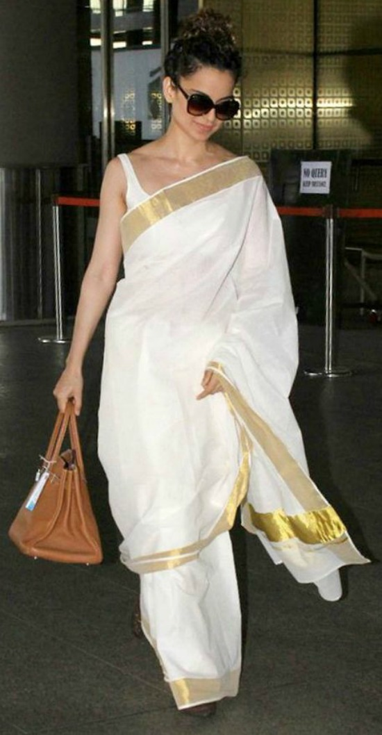Kangana Ranaut White And Gold Kerala Saree