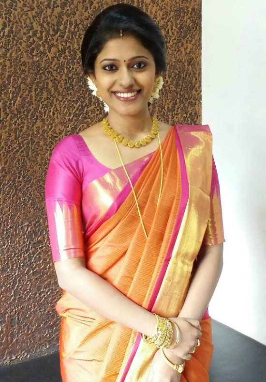 Plain Pink Blouse For Kanjeevaram Saree